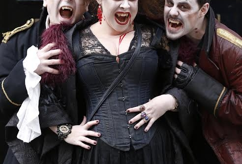 NO REPRO FEE 25/10/2014. Goths V Zombie Dance Off. Pictured (LtoR) vampires Dimitvi, Carmilla and Slasher in Dublin. The Goths and Zombies will meet at the top of Grafton Street (outside the shopping centre) at 2.30pm for the ultimate dance-off. Two costumed legions of horror will battle it out to the beat of classic Goth music. The Bram Stoker Festival runs from 24th - 27th October 2014. Photo: Sasko Lazarov/Photocall Ireland